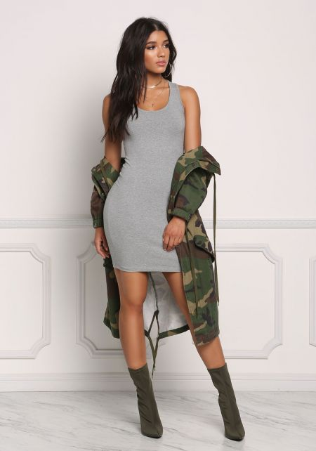 Heather Grey Jersey Knit Basic Dress
