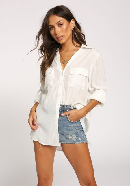White Collared Double Pocket Blouse