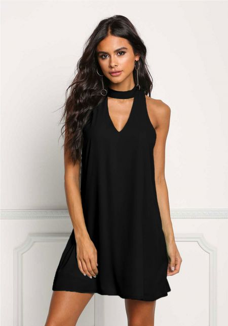 Black Choker Cut Out Shift Dress