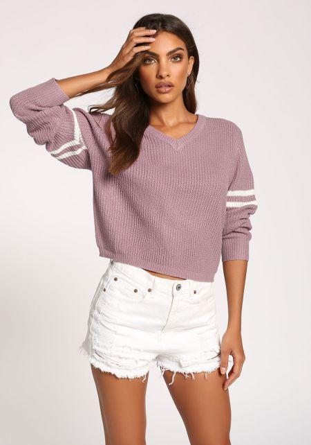 Lilac V Neck Varsity Sweater Top
