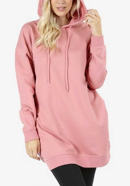 Dusty Rose Hooded Tunic Sweater