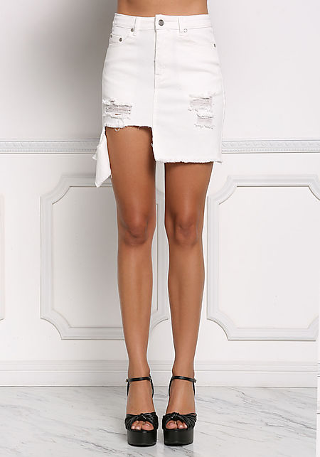 White Asymmetrical Distressed Denim Skirt