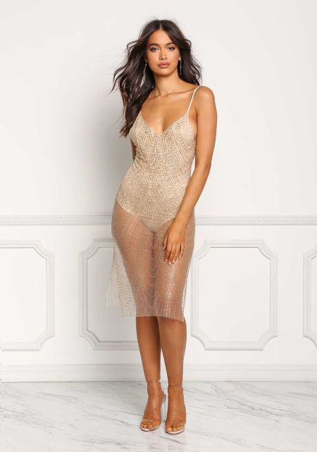 Gold Glitter Tulle Slit Bodycon Dress