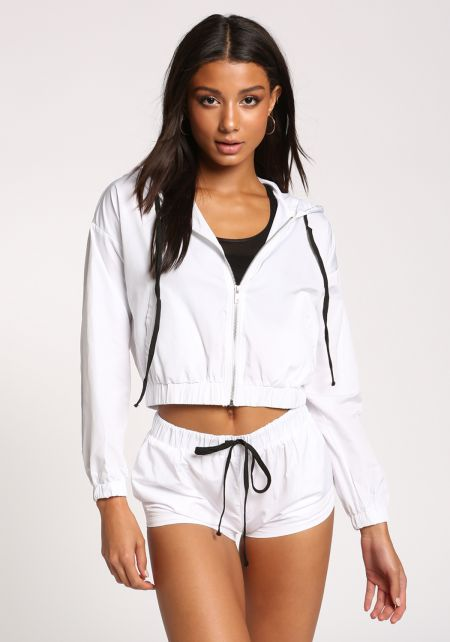 White Hooded Windbreaker Jacket