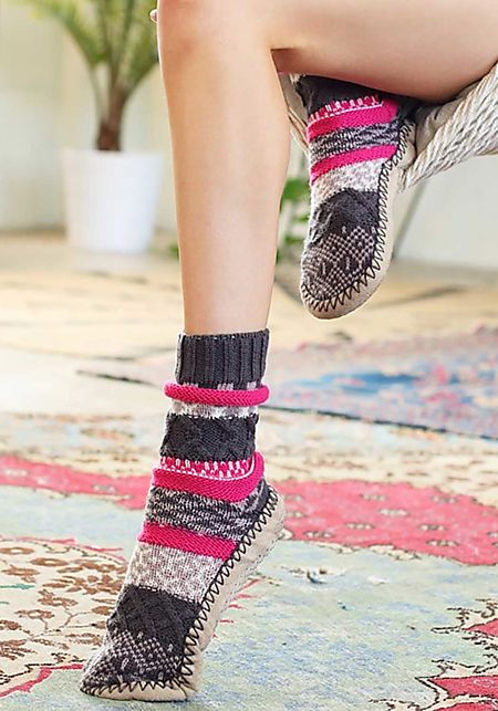 Grey Thick Knit Printed Sock Slippers