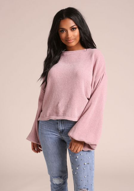 Blush Puff Sleeve Soft Knit Sweater Top