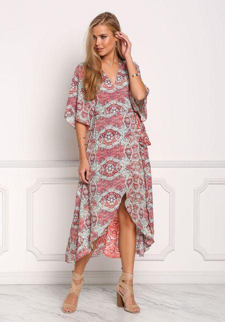Multi Colored Print Wrap Maxi Dress