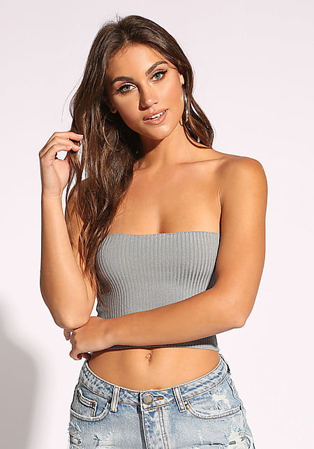 Grey Ribbed Knit Tube Top