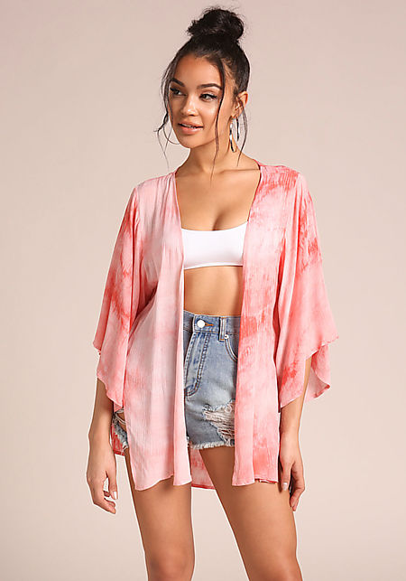 Coral Tie Dye Crepe Kimono
