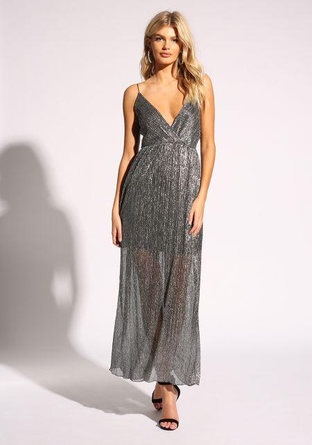 Silver Metallic Plunge Maxi Gown