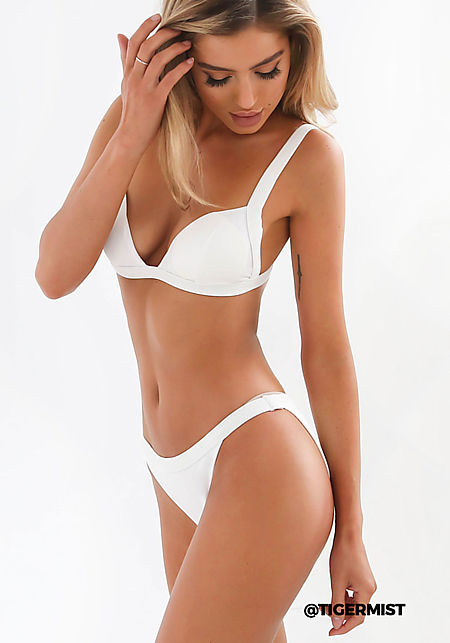 Tiger Mist White Ribbed Knit Swimsuit Bikini Botto