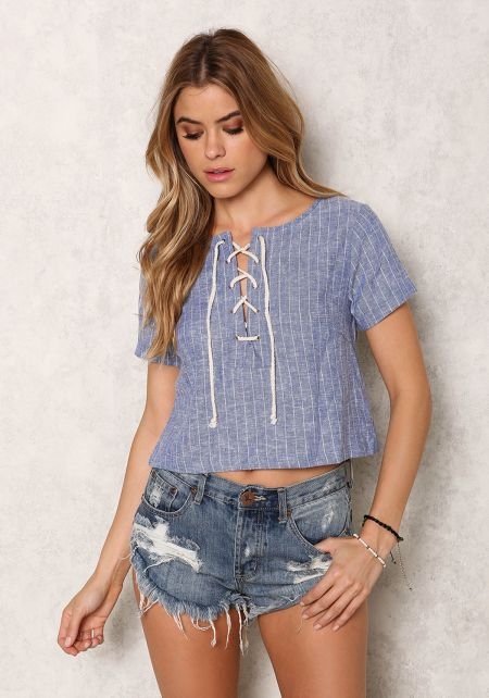 Denim Pinstripe Lace Up Crop Top