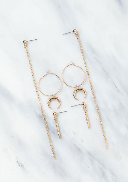 Gold Hoop Moon & Chain Earring Set