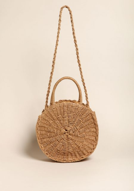 Natural Round Straw Large Shoulder Bag