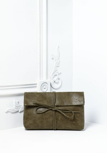 Olive Textured Leatherette Strap Clutch