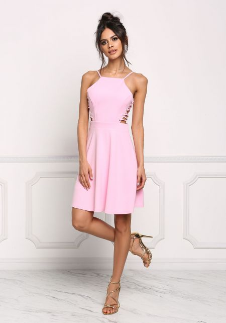 Baby Pink Side Lace Up Flared Dress