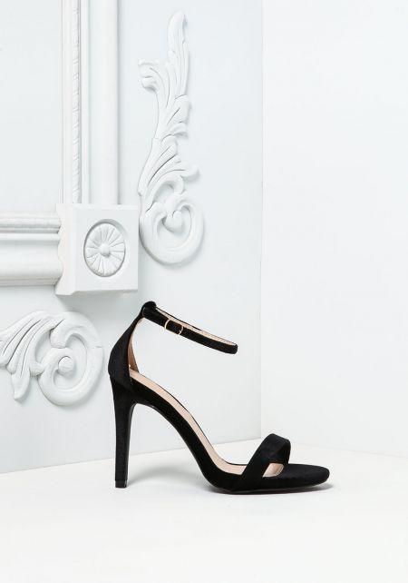 Black Velvet Ankle Strap Heels