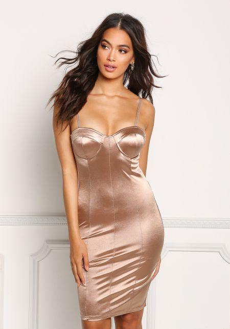 Khaki Lustrous Satin Bustier Bodycon Dress