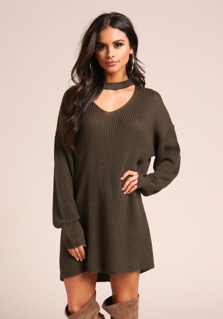Olive Choker Cut Out Thick Knit Tunic Sweater Top