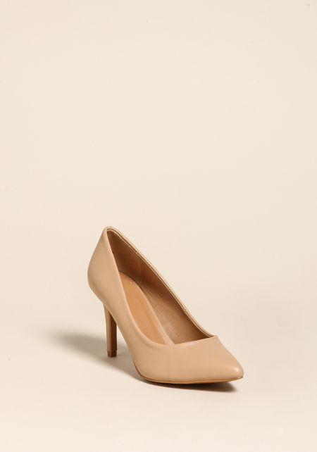 Nude Pointed Toe Pump Heels