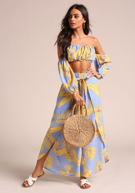 Yellow Palm Leaf Slit Palazzo Pants