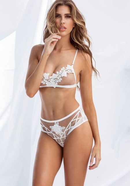 Taupe Mid Rise Floral Lace Panty