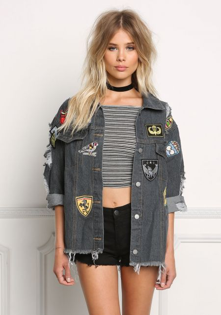 Charcoal Denim Distressed & Patched Boxy Jacket