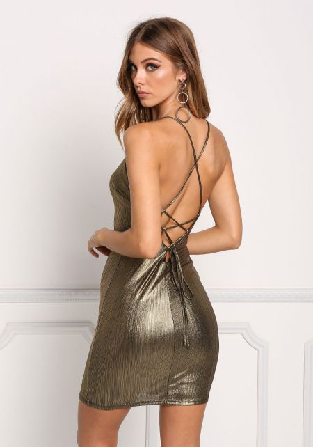 Gold Metallic Low Back Cross Strap Bodycon Dress