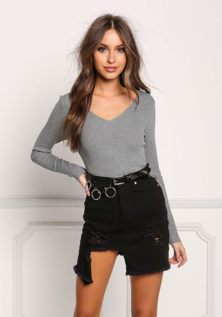 Heather Grey Ribbed Knit Long Sleeve Top