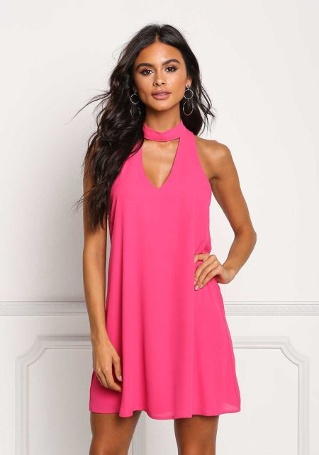 Fuchsia Choker Cut Out Shift Dress