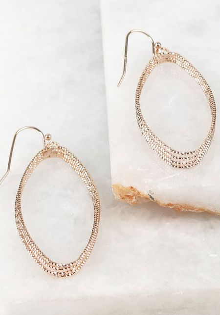 Rose Gold Textured Metal Teardrop Earrings