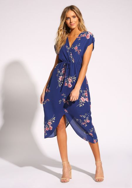 Royal Blue Floral Pointed Midi Dress