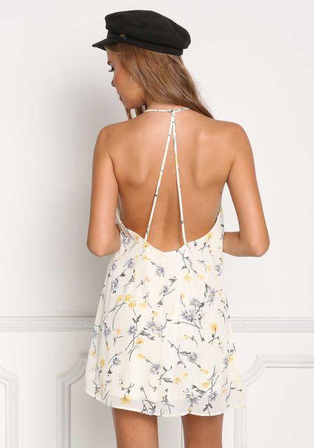 Cream Floral Multi Strap Shift Dress