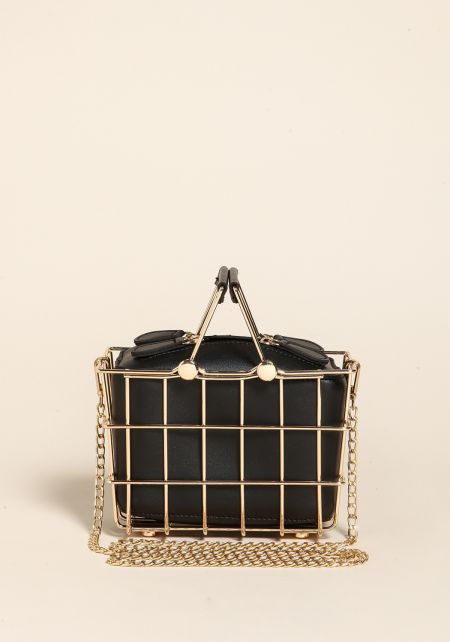 Black Caged Leatherette Crossbody Bag