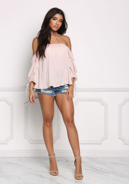 Blush Off Shoulder Gathered Blouse