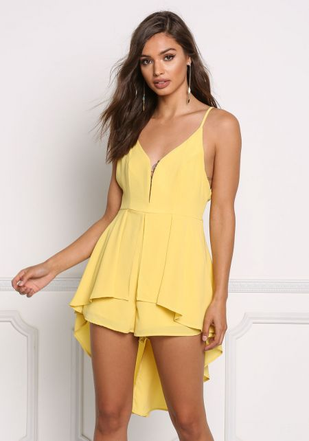 Yellow Plunge Hi-Lo Layered Romper