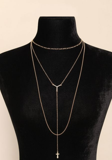 Gold Delicate Layered Low Drop Necklace