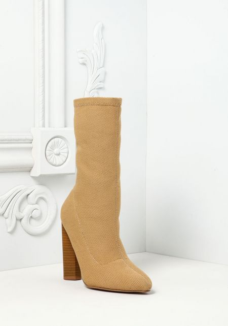 Tan Pointed Sock Ankle Boots