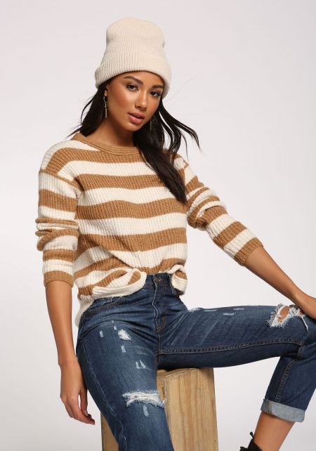Camel Stripe Pullover Sweater Top