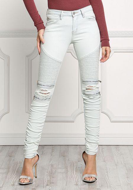 Light Denim Embossed Zipper Trim Jeans