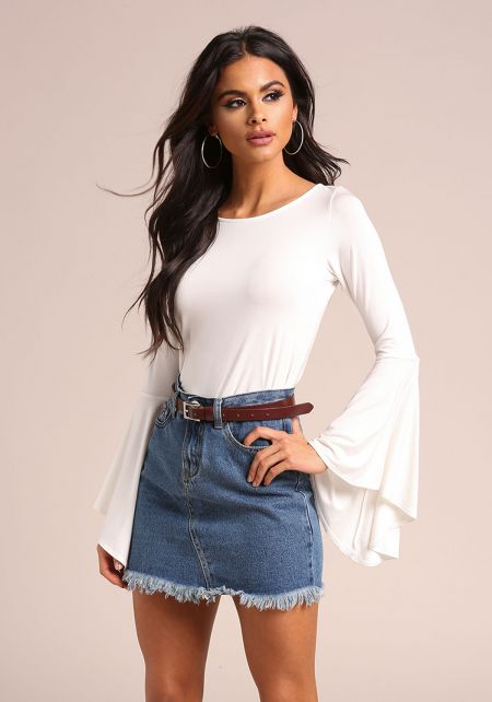 White Bell Sleeve Keyhole Knit Top