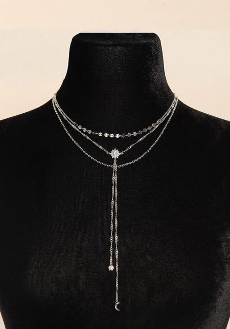 Silver Star Pendant Drop Chain Necklace