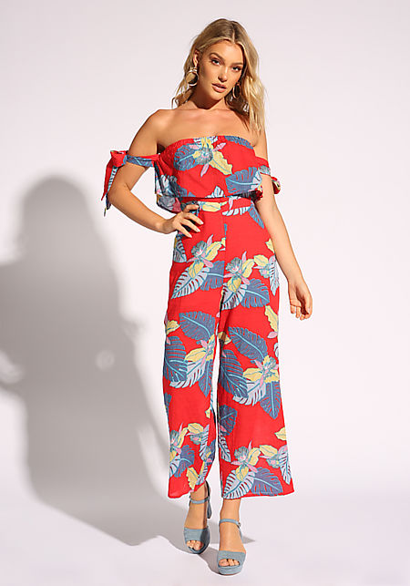 Red Leaf Strapless Palazzo Jumpsuit
