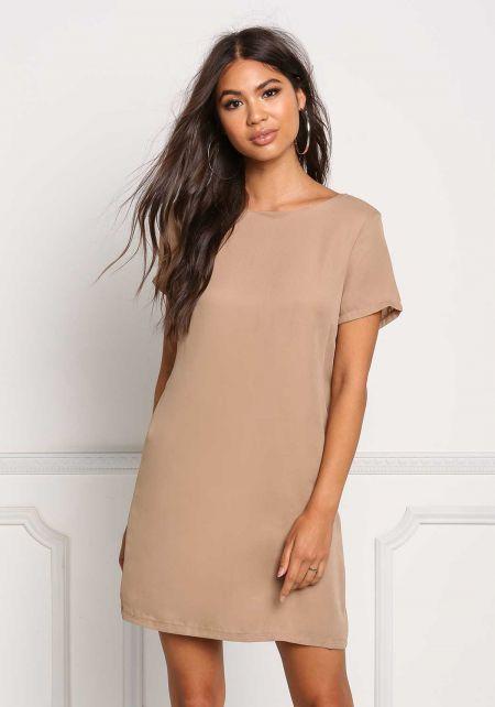 Taupe Basic Shift Dress