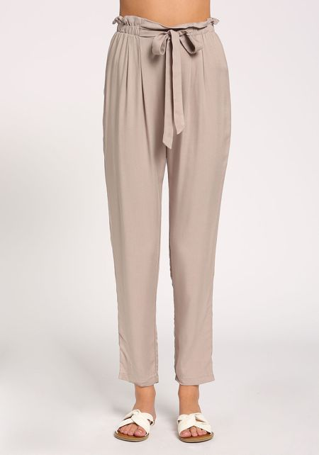 Taupe Paperbag High Rise Pants