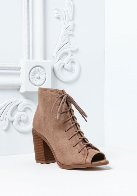 Taupe Suede Lace Up Peep Toe Booties