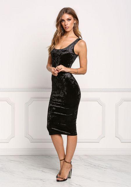 Black Crushed Velvet Midi Dress