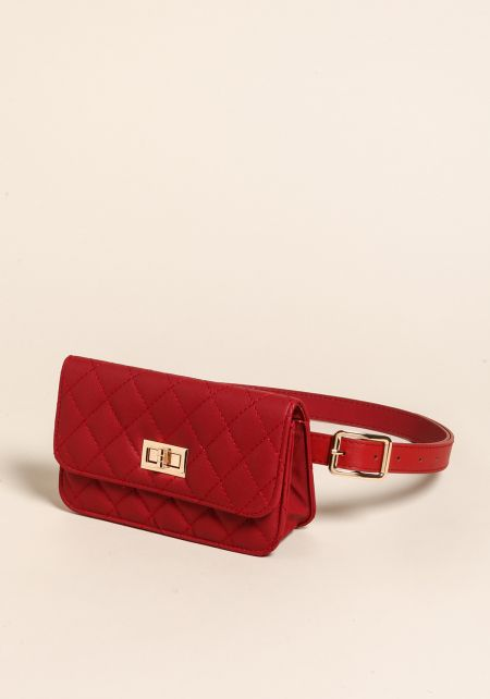 Red Quilted Leatherette Fanny Belt