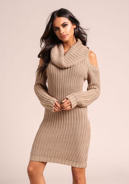 Taupe Thick Knit Cold Shoulder Sweater Dress