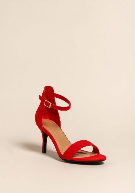Red Ankle Strap Kitten Heels